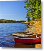 Canoe On Shore Metal Print