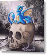 Captive Dragon On An Old Skull Metal Print