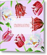 Card With Tulips And Peonies Metal Print