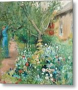 Carl Larsson, Garden Scene From Marstrand On The West Coast Of Sweden. Metal Print