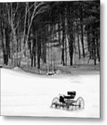 Carriage In A Field Of Snow Metal Print
