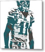 Carson Wentz Philadelphia Eagles Pixel Art 6 Metal Print