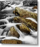 Cascading Water And Rocky Mountain Rocks Metal Print