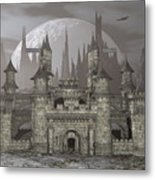Castle By Night - 3d Render Metal Print