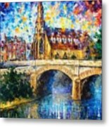 Castle By The River - Palette Knife Oil Painting On Canvas By Leonid Afremov Metal Print