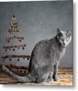 Cat Christmas Metal Print