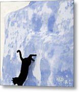 Cat Jumping From A Wall Metal Print