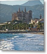 Cathedral And City Beach With People  Metal Print
