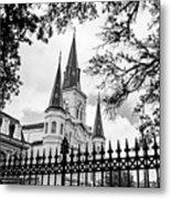 Cathedral Basilica - Square Bw Metal Print