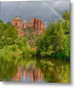 Cathedral Rock Rainbow Metal Print