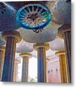 Ceiling Boss And Columns, Park Guell, Barcelona Metal Print