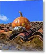 Ceramic Pumpkin On A Roof Metal Print