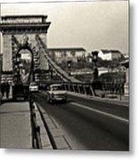 Chain Bridge Of Budapest In 1990 Metal Print