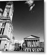 chamberlain memorial in chamberlain square with Birmingham museum and art gallery and town hall UK Metal Print