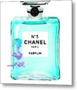 Chanel Perfume Turquoise Chanel Poster Chanel Print Metal Print