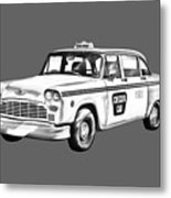Checkered Taxi Cab Illustrastion Metal Print