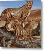 Cheetah Family Tree Metal Print