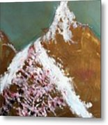 Cherry Blossoms On Gold Mountain Metal Print
