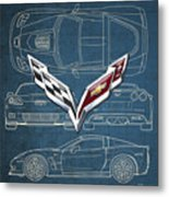 Chevrolet Corvette 3 D Badge Over Corvette C 6 Z R 1 Blueprint Metal Print