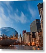 Chicago Skyline And Bean At Sunrise Metal Print