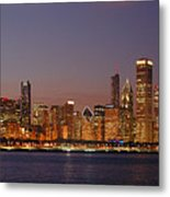 Chicago Skyline At Dusk Panorama Metal Print