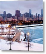 Chicago Skyline In Winter Metal Print by Paul Velgos