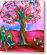 Chica's Y Pollos-blush Metal Print by Brenda Higginson