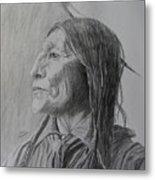 Chief Wolf Robe Metal Print