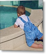 Child In A Denim Suit Sits Metal Print
