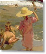 Children On The Seashore Metal Print by Joaquin Sorolla y Bastida