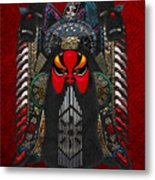 Chinese Masks - Large Masks Series - The Red Face Metal Print by Serge Averbukh