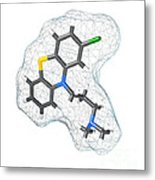 Chlorpromazine, Molecular Model Metal Print