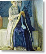 Christ And His Mother Studying The Scriptures Metal Print