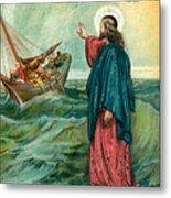 Christ Walking On The Sea Metal Print