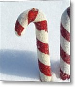 Christmas Candy Canes On Real Snow Metal Print