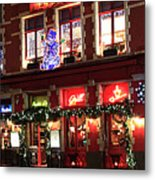 Christmas Decorations On The Buildings, Bruges City Metal Print