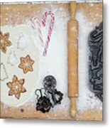 Christmas Interior With Sweets And Vintage Kitchen Tools Metal Print