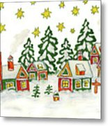 Christmas Picture In Green And Yellow Colours Metal Print