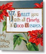 Christmas Postcard Metal Print