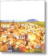 Cityscape With Mountain Metal Print