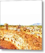 Cityscape With Wall And Mountain Metal Print