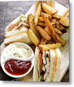Classic Club Sandwich With Fries On Wooden Board Metal Print