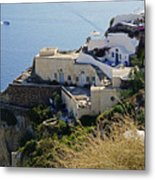Cliff Perched Houses In The Town Of Oia On The Greek Island Of Santorini Greece Metal Print