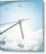 Clock In Sky 2 Metal Print