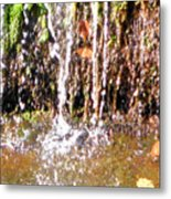 Close Up Of Waterfall Flowing Over Rocks  Metal Print