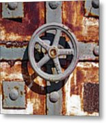 Close Up View Of An Unusual Door That Is Part Of An Old Rundown Building In Katakolon Greece Metal Print