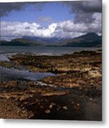 Cloud Passing Across The Cuillin Main Ridge And Bla Bheinn From Tokavaig Sleat Isle Of Skye Scotland Metal Print