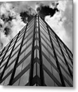 Clouds And Office Building Midtown Metal Print