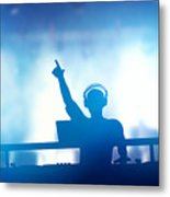 Club Dj Playing And Mixing Music For People Metal Print