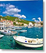 Coastal Town Of Hvar Waterfront Panorama Metal Print